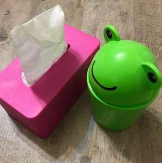 🚚 可調整高度 面紙盒、收納盒 + 🐸青蛙造型迷你垃圾桶