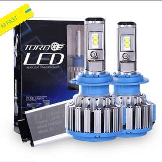 2PC X LED )CSP Korean Chip High an T1 Turbo Led Bulb H4/H7/H11/9006
