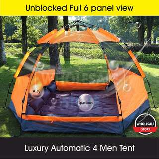 Luxury Automatic 4 Man person camping tent ( 6 panel Unblock view latest special design )- $120 ONLY (Retail $250) Award winning design Glamping in Style!