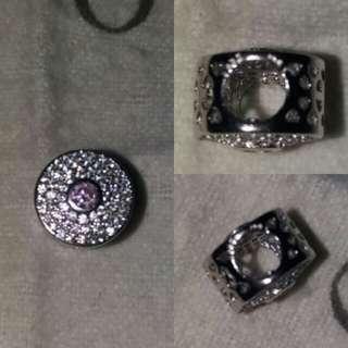 s92.5 Silver Pandora Studded Charms