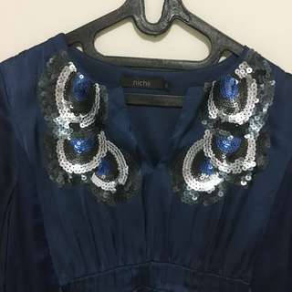 Nichii Satin Dress Navy Blue