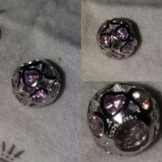 s92.5 Silver Pandora Pink Heart Openwork charm