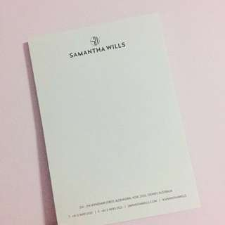 FREE Samantha Wills Notepad with any Jewellery Purchase
