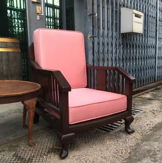 Antique marquetry arm chair with coffee