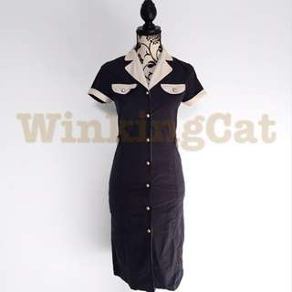 (D169)Vintage Navy Shirt Dress