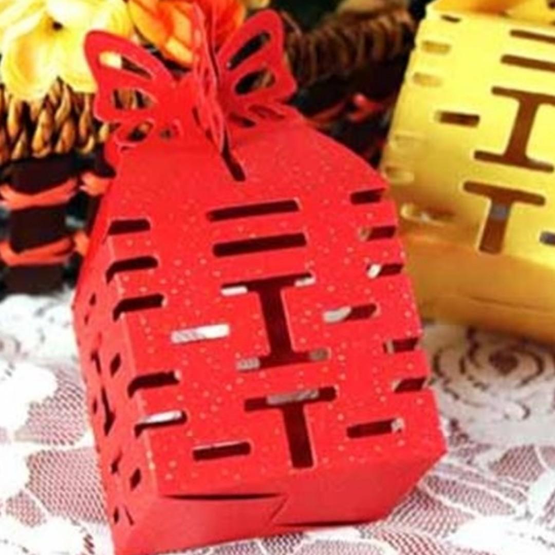 210個入囍字縷空造型紙盒 喜糖盒 婚禮小物 紅色 W80