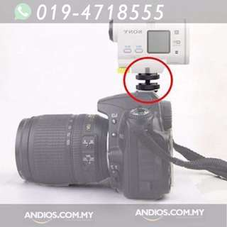 In-Stock✔Camera Screw To Flash Shoe Adapter 1/4 Inch Tripod Mount Dual Nuts