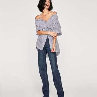 Zara Front-Knotted Poplin Shirt (XS)