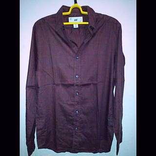 Kemeja H&M Original pria size M merah maroon