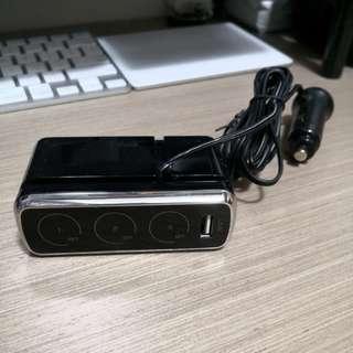 獨立開關 一開三車充 點煙器 USB