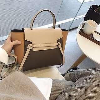 「新品推薦」韓國時尚百搭OL撞色手拿肩背包