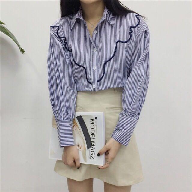 寬袖壓線直紋襯衫