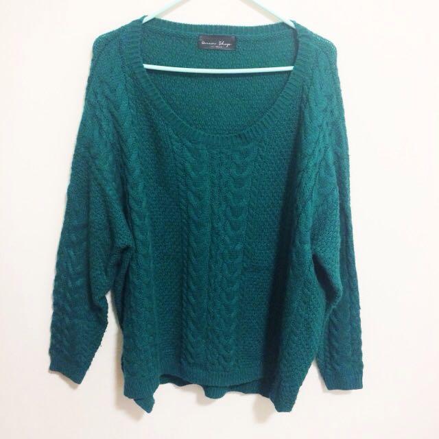 孔雀綠麻花編織毛衣