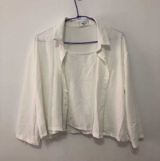 全新白襯衫外套附背心