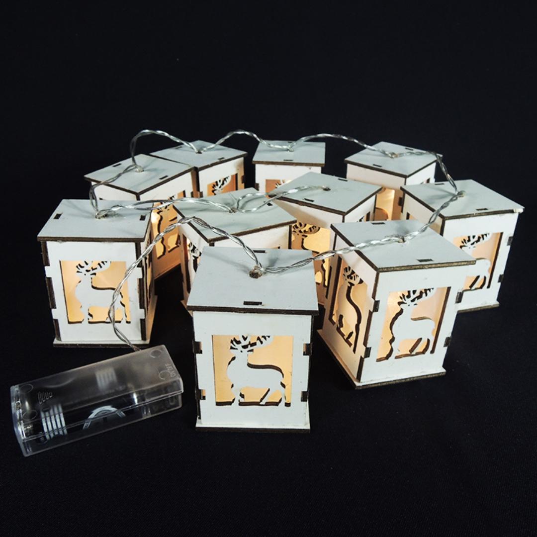 【精選新品】白木質小房子裝飾串燈-麋鹿剪影