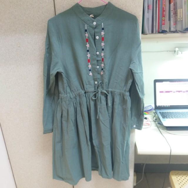 文藝清新復古民族刺繡洋裝連身裙連衣裙