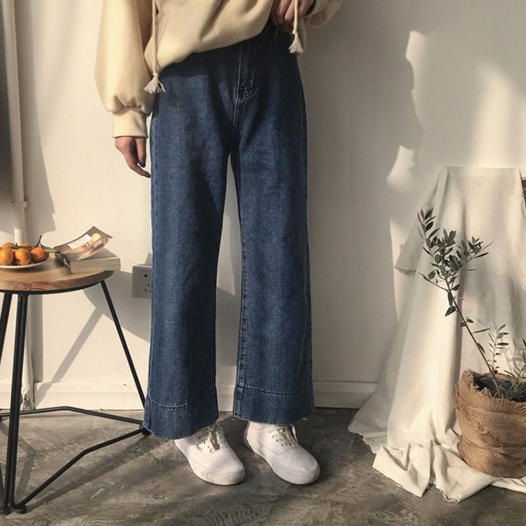 【預購】高腰闊腿牛仔褲