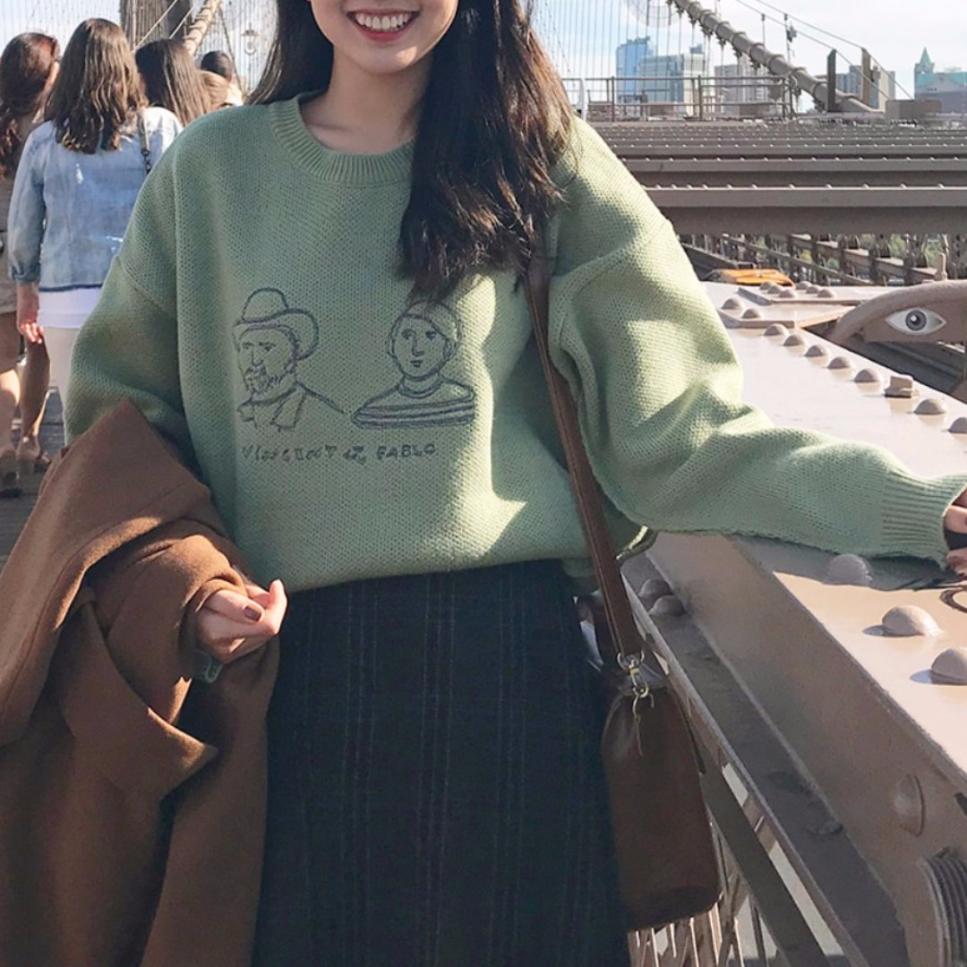 【預購】紳士小姐頭像寬鬆毛衣