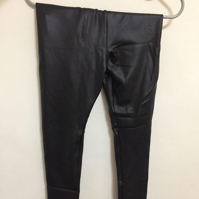 黑色皮褲風格彈性鋪棉內搭褲