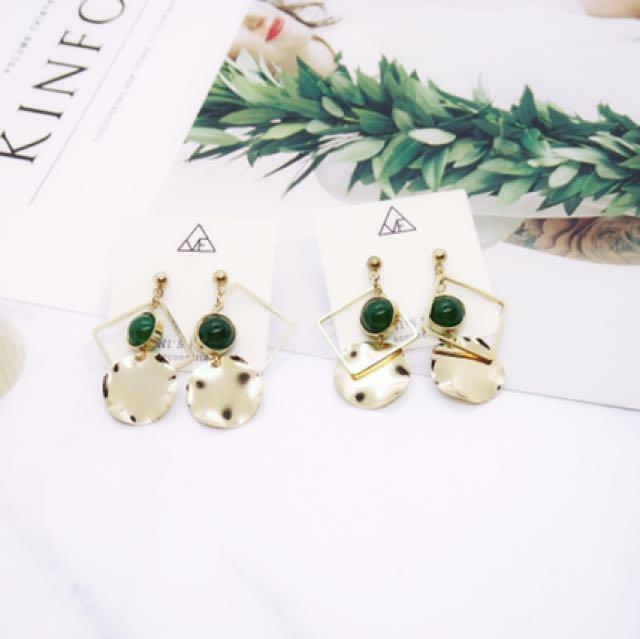 抗敏鋼針歐美女神金屬綠瑪瑙質感耳環