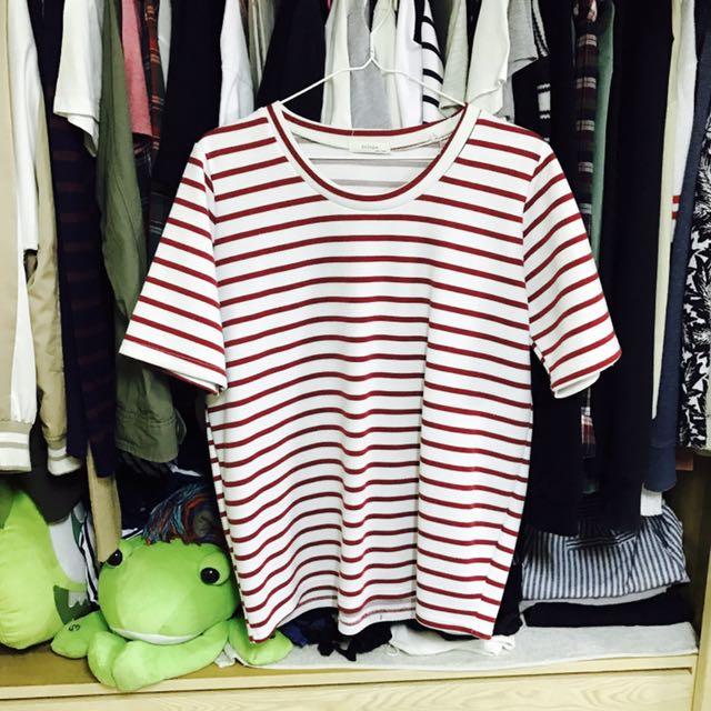 紅色條紋寬版上衣#我的女裝可超取