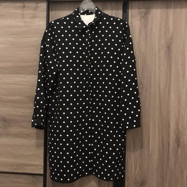 黑底白點長版襯衫 正韓😬😬