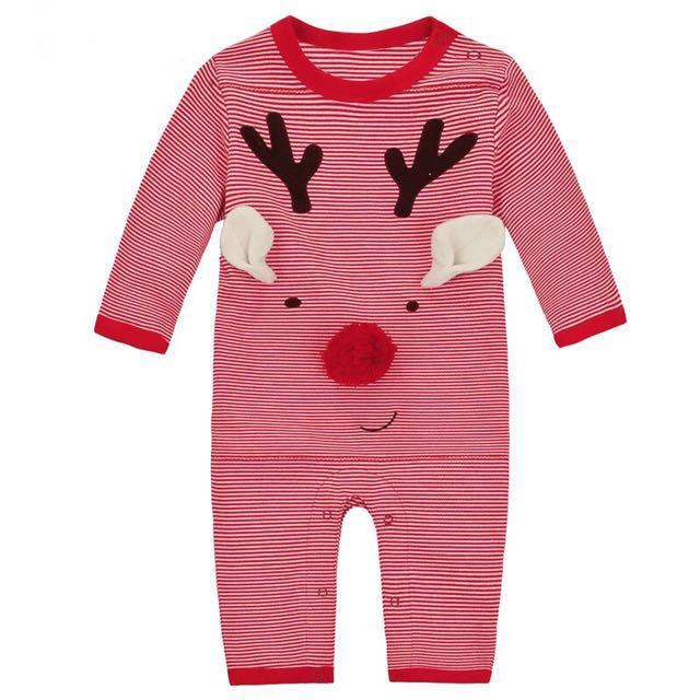 嬰兒連體衣 春哈衣寶寶包屁衣長袖爬服聖誕節新生兒衣