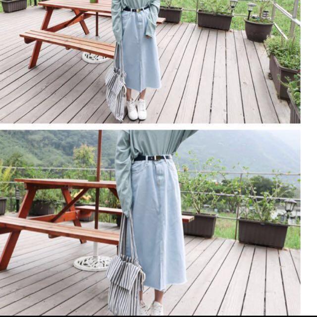淺藍 牛仔長裙