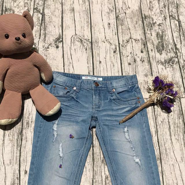 #清衣櫃# 淺藍刷色七分牛仔褲 #我的女裝可超取