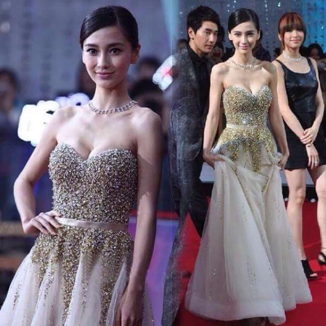 👭Angelababy Gold Dress (Rental)