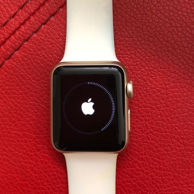 Apple Watch Gold Aluminum Case with White Sport Band