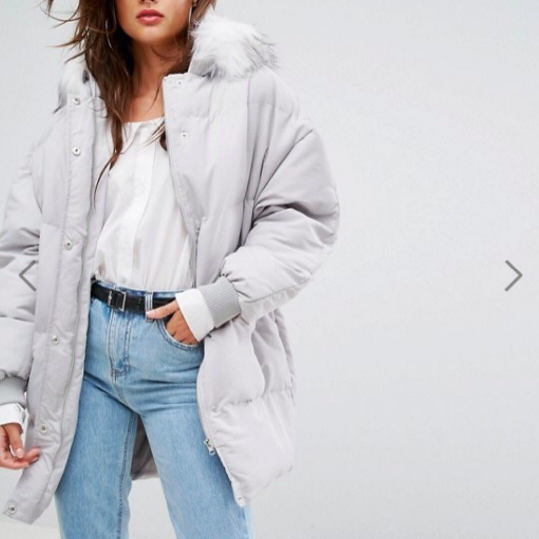 ASOS Padded/Puffer Coat with Faux Fur Hood