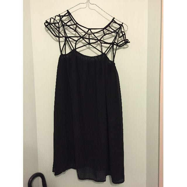 Black cut out shift chiffon dress