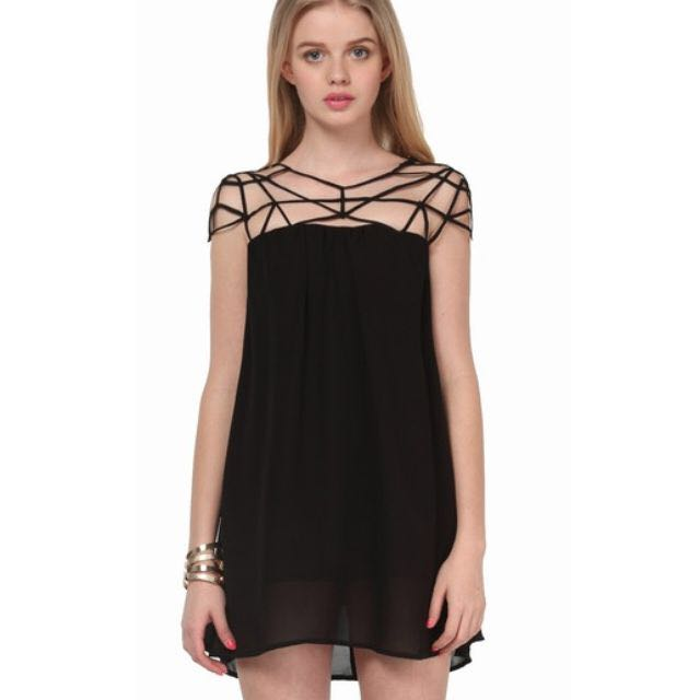 Black cut out shift chiffon dress