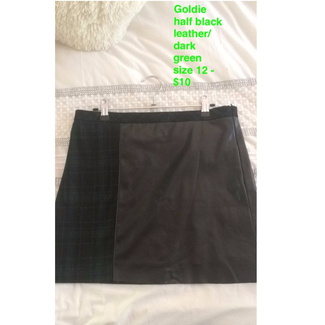 Black Leather + Green Tartan Skirt - S12