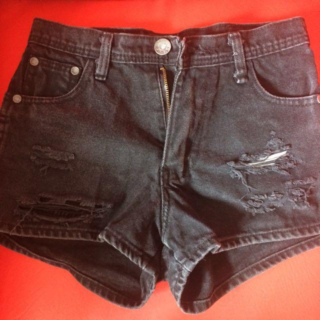 Black maong high waisted shorts