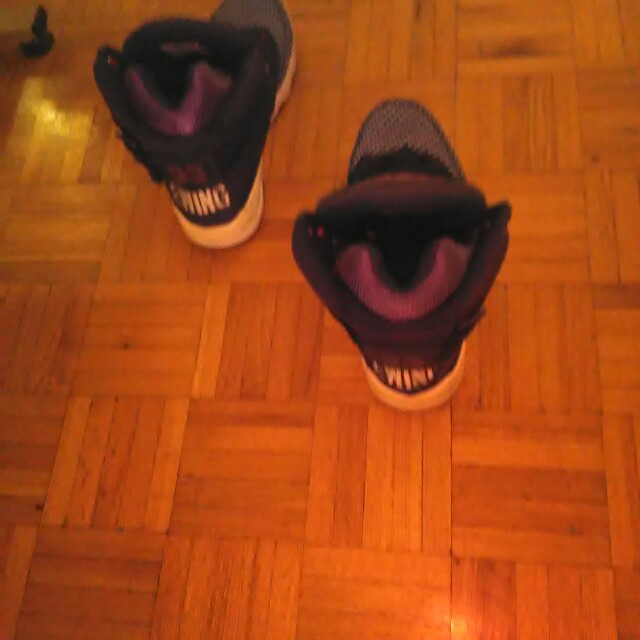 Blue and purple line glow in the dark Patrick Ewing shoes