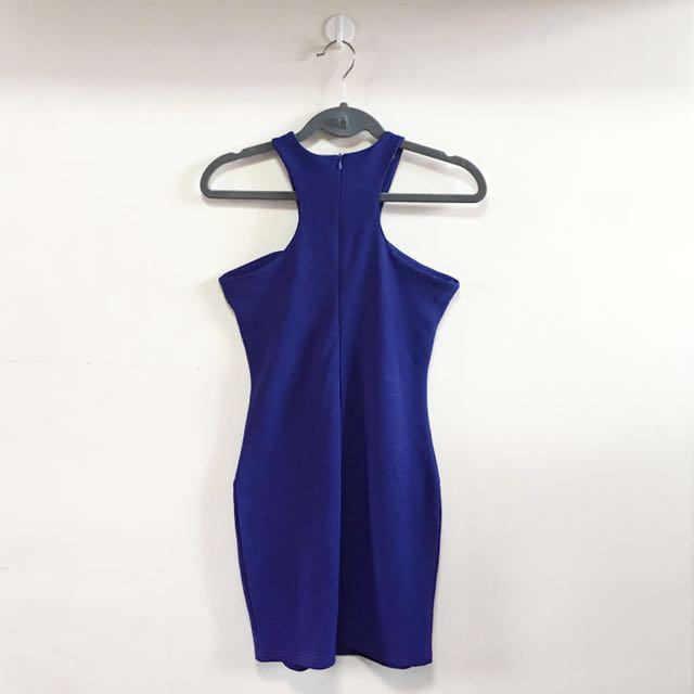 Blue Halter Bodycon Dress