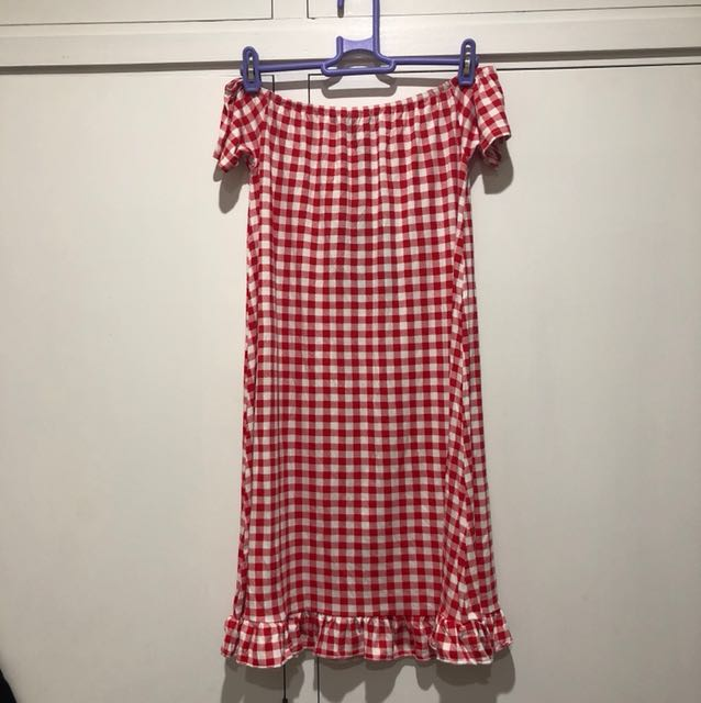 BNWT PRETTY LITTLE THING RED GINGHAM BARDOT FRILL HEM SWING DRESS SIZE 8