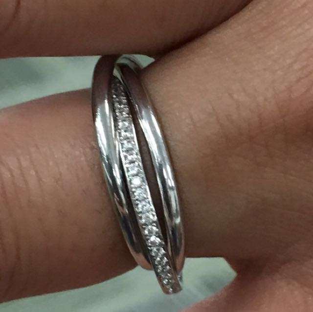 BRAND NEW 3 Band 925 Sterling Silver Ring with CZ