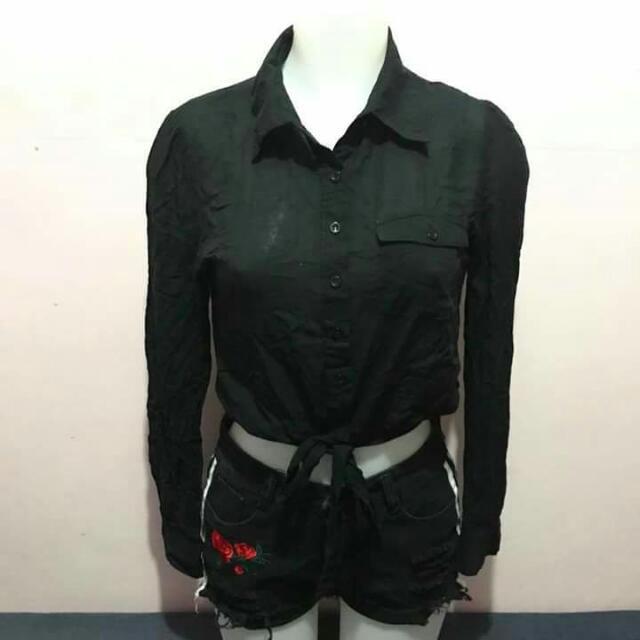 Brandy Melville Black Crop Polo