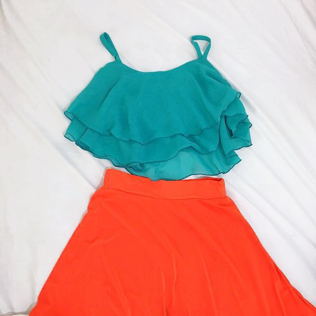 Buy 1 Take 1: Teal Cropped Top and Orange High-Low Skirt