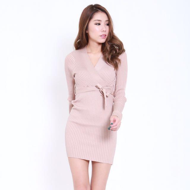 5e88207c44 Carrislabelle Wrapped Knit Dress, Women's Fashion, Clothes, Dresses ...