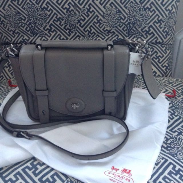 Coach genuine leather gray cross body bag