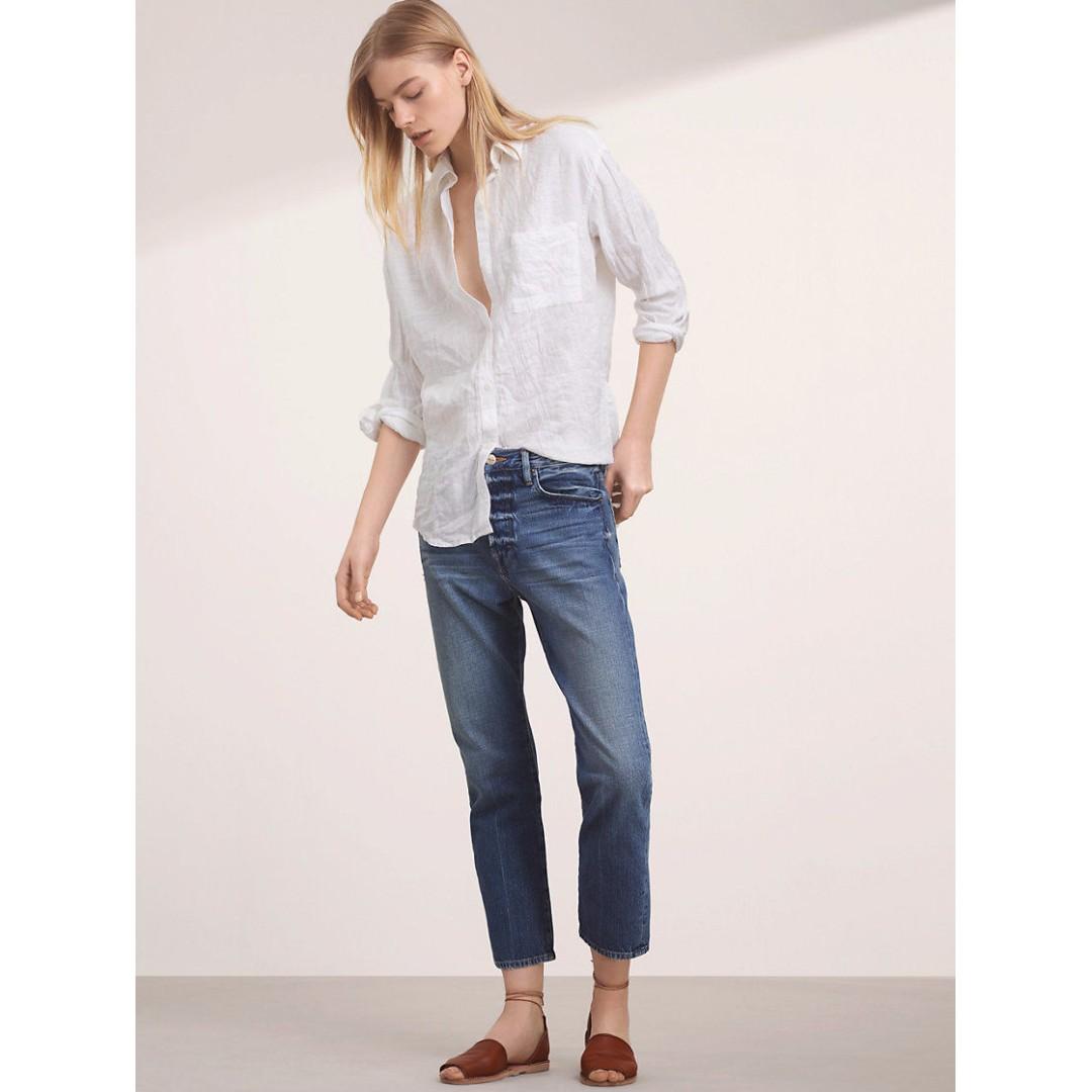 Community Veritas Shirt Aritzia Linen Button-Up Oversized-Boyfriend-Blouse XS