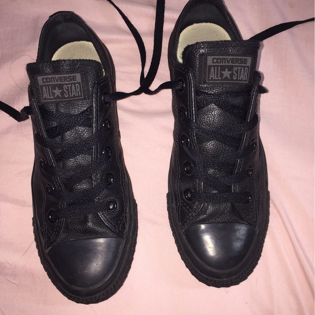 Converse Leather All Black Low Tops - US Womens 6 or Us Mens 4