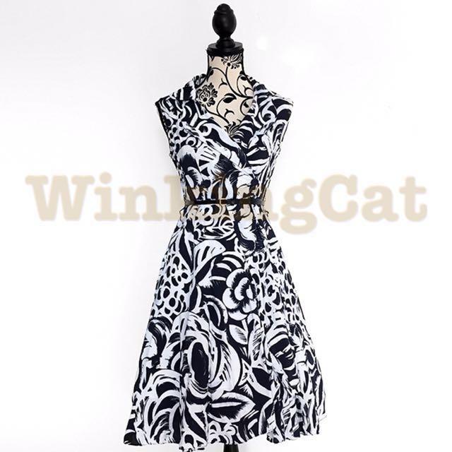(D157)Vintage Monochrome Dress