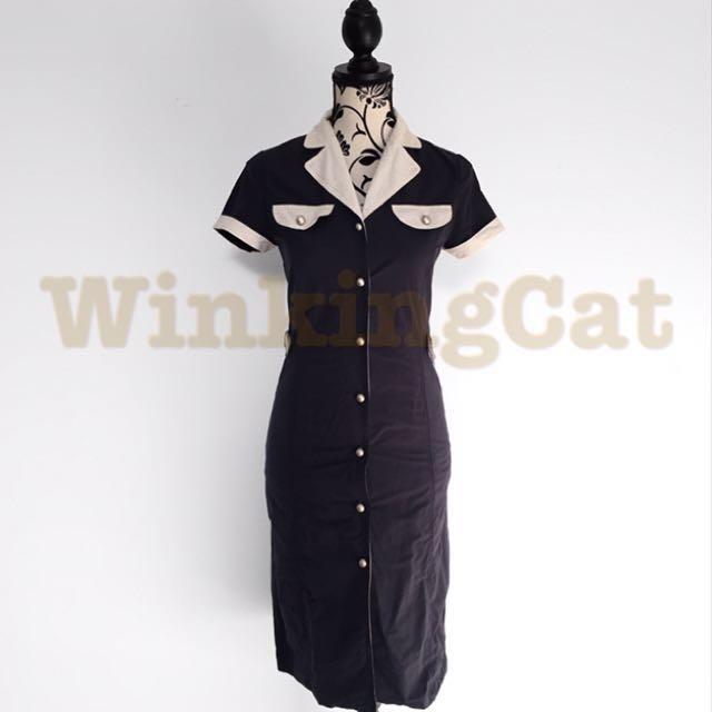 (D169)Vintage Navy Shirt Dress