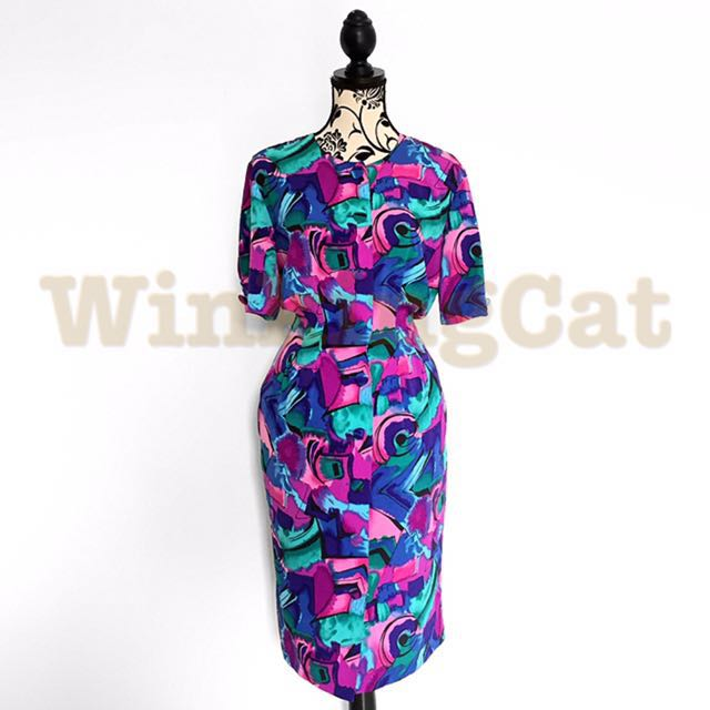 (D174)Vintage Abstract Dress