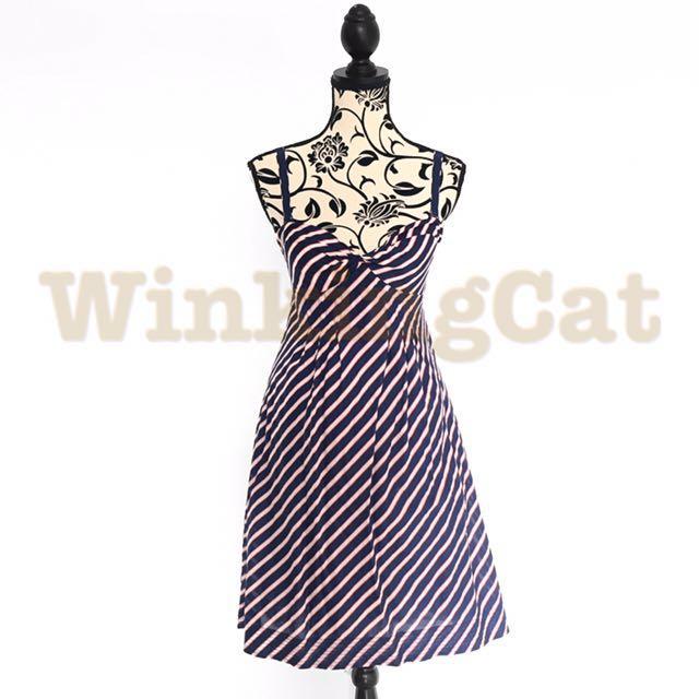 (D175)Vintage Stripes Dress